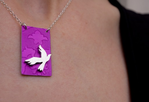 Small aluminum pendant - dove on pink (08-DSP-P)
